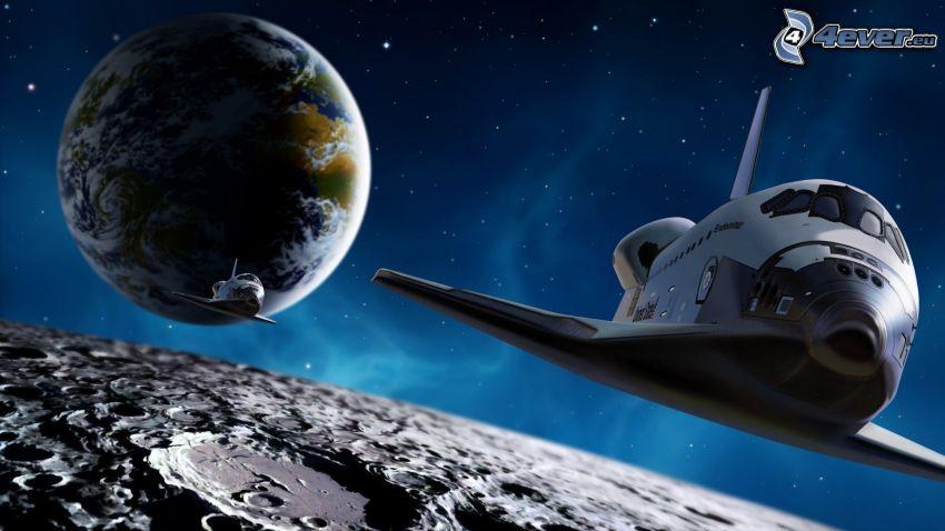 navette spatiale, lune, planète Terre