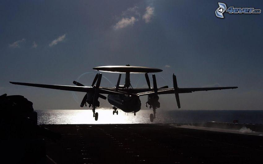 silhouette de l'avion, décollage