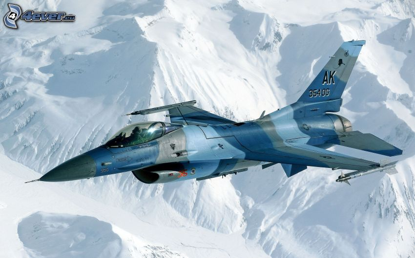 avion de chasse, collines enneigées