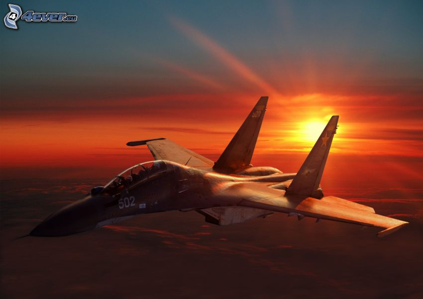 avion de chasse, lever du soleil