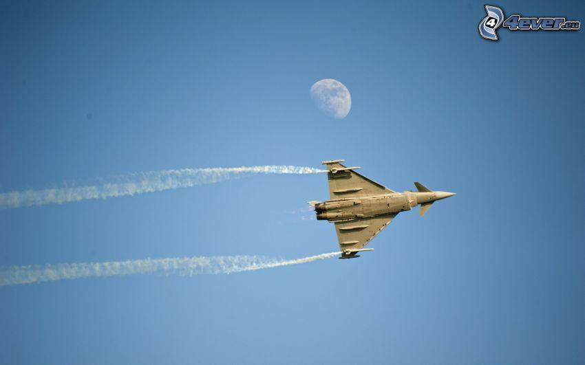 avion de chasse, lune