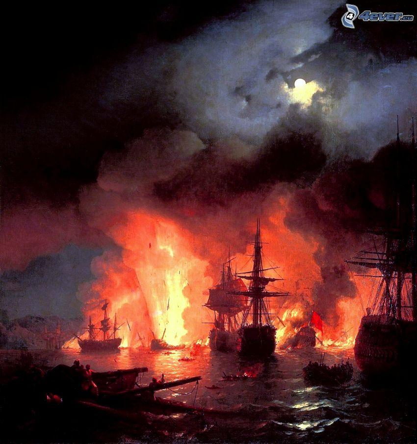 Bataille de l'île de Chios - Ivan Aivazovsky, navire, feu