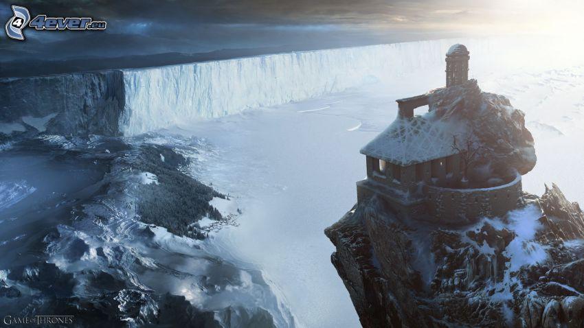 A Game of Thrones, lac, l'hiver, maison sur la colline
