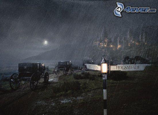 Harry Potter, calèche, pluie, panneaux de signalisation
