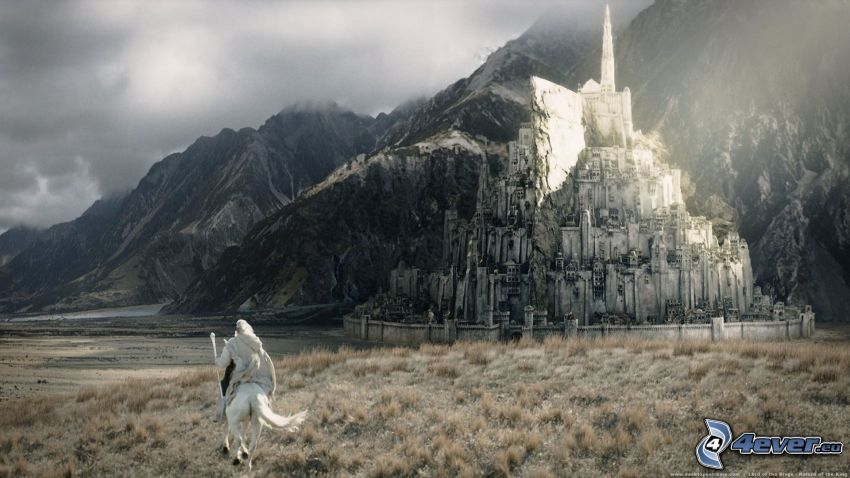 Le Seigneur des anneaux, cavalier, château fantastique