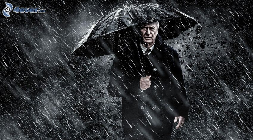 The Dark Knight, homme, parapluie, pluie