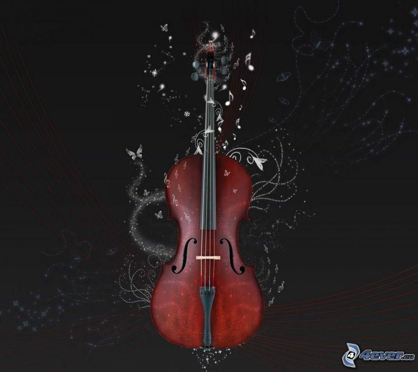 violon, papillons, lignes blanches