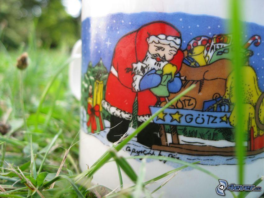 Père Noël, noël, tasse, l'herbe