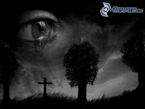 tristesse, œil, larme, croix, silhouettes d'arbres