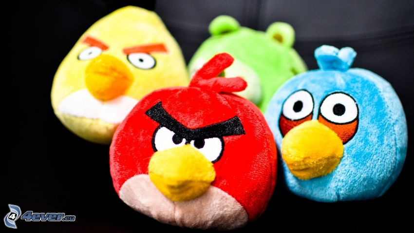 Angry birds, animaux en peluche
