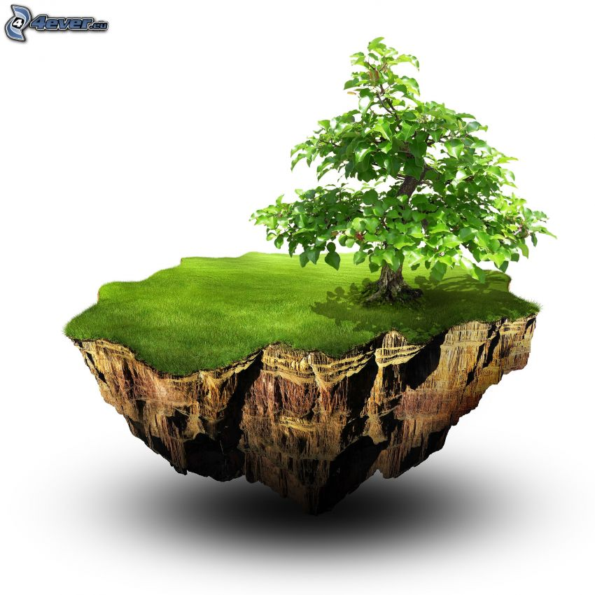 arbre, île volant