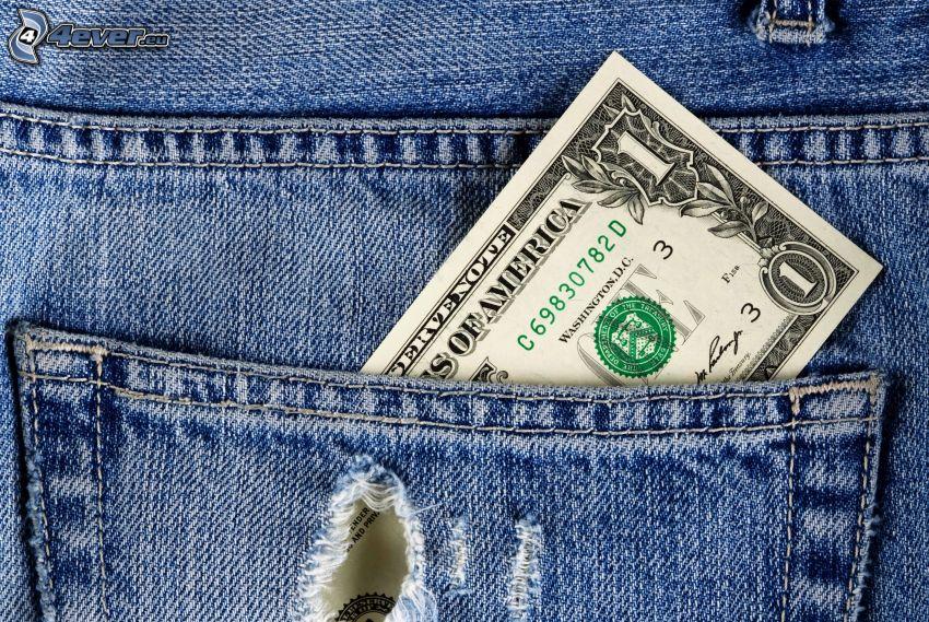 billet, sac, jeans