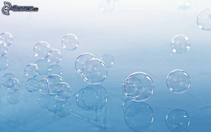 bulles, fond bleu