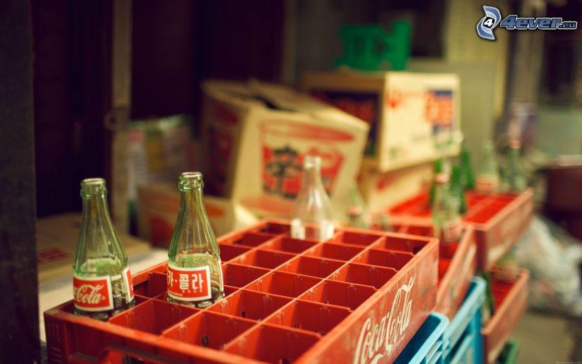 Coca Cola, bouteilles, boîtes