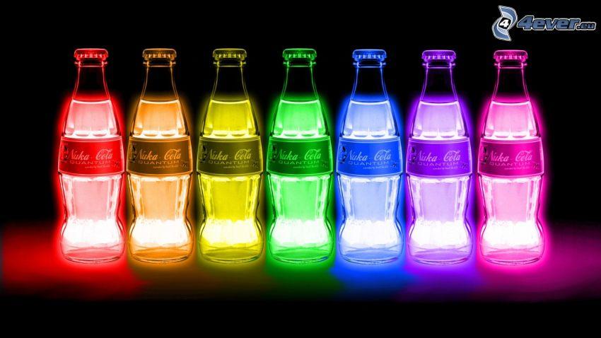 Coca Cola, bouteilles, couleurs