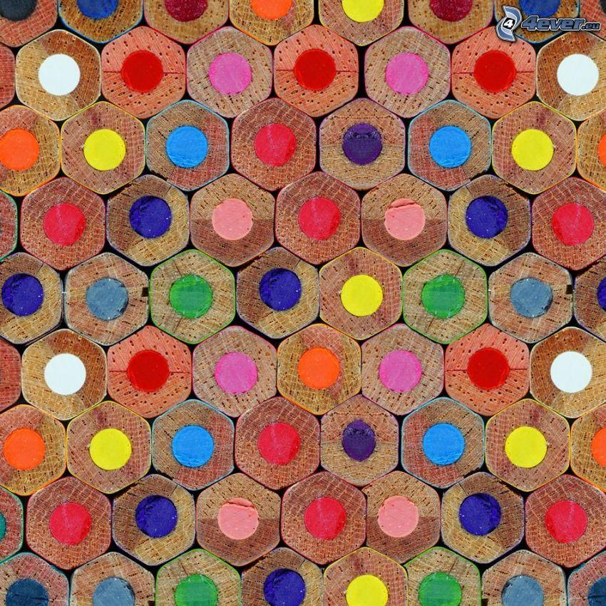 crayons colorés, hexagones