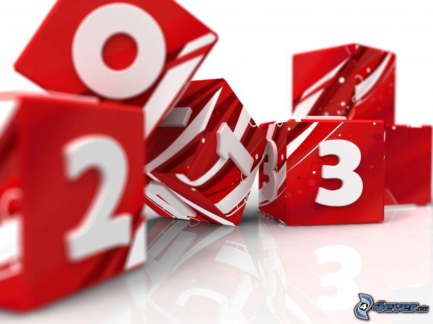 cubes, numéros