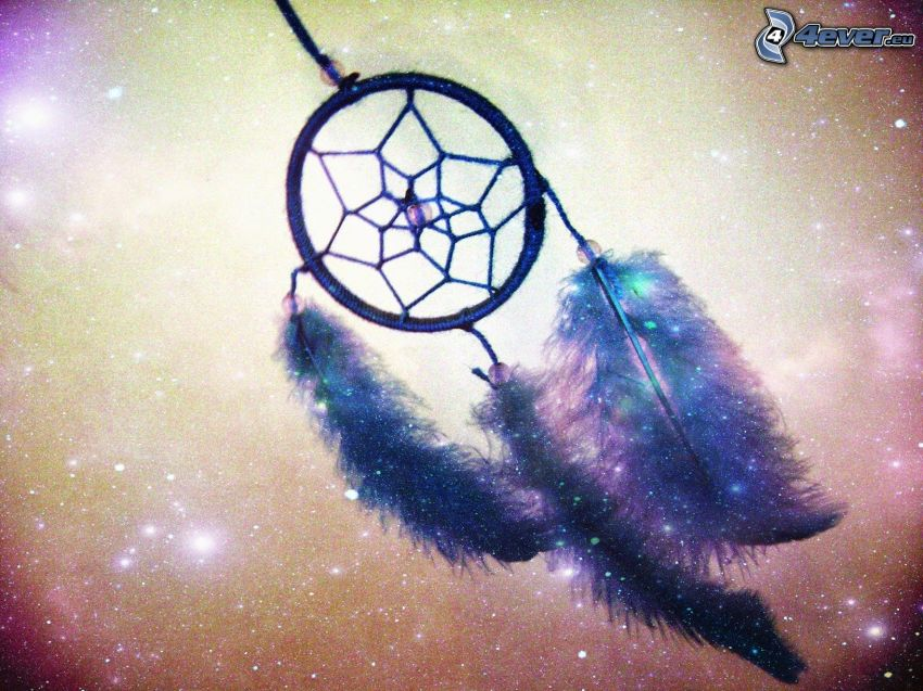 dream catcher, plumes, étoiles