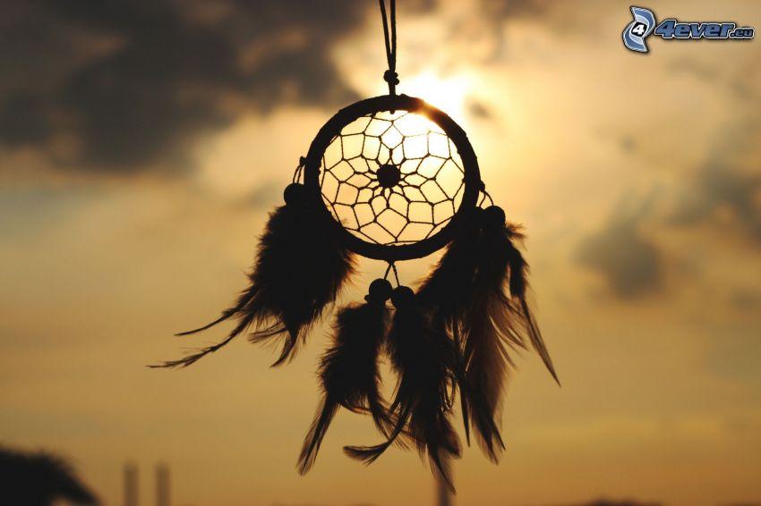dream catcher, plumes