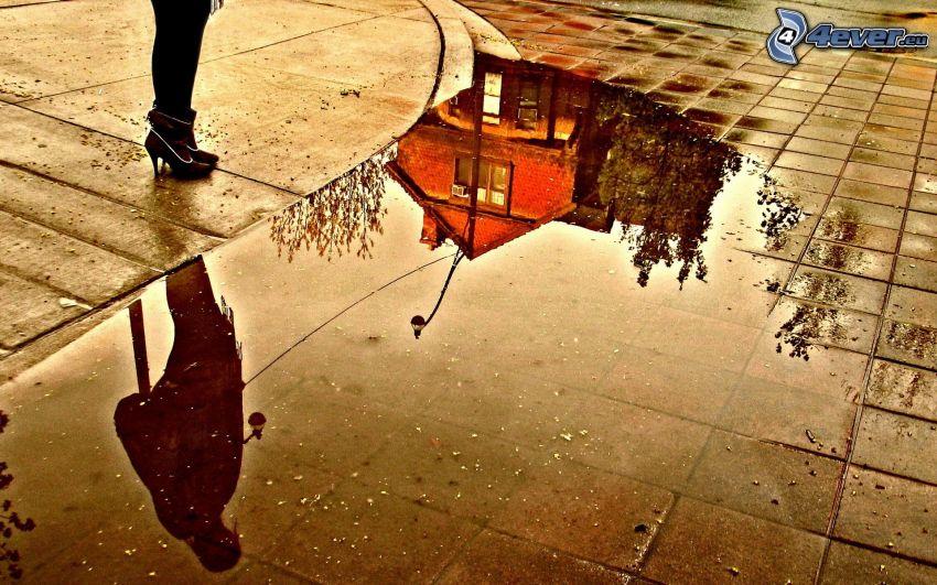 éclaboussure, trottoir, reflexion