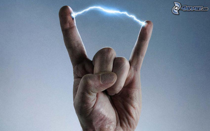 électricité, main