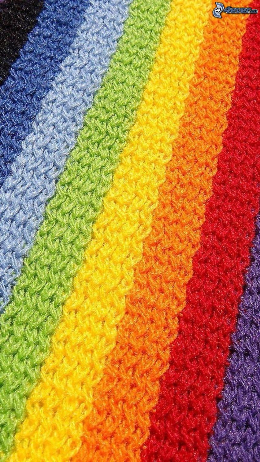 laine, bandes colorées