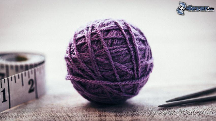 laine, mètre, ciseaux