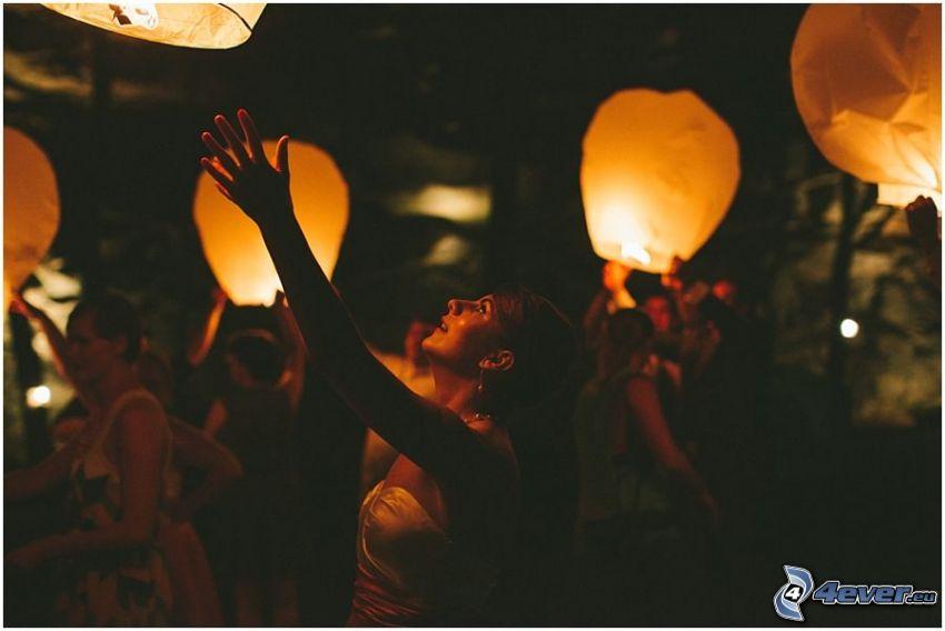 lanternes, de chance, gens