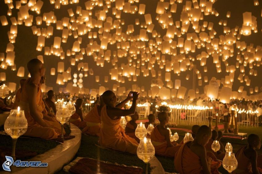 lanternes, de chance, moines
