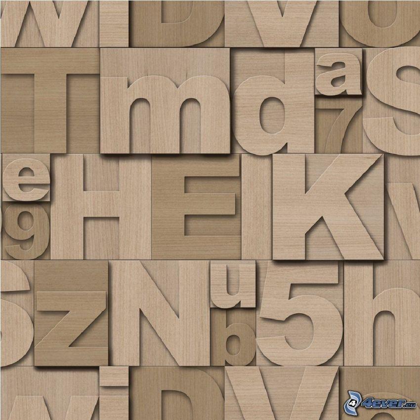 lettres, numéros, bois