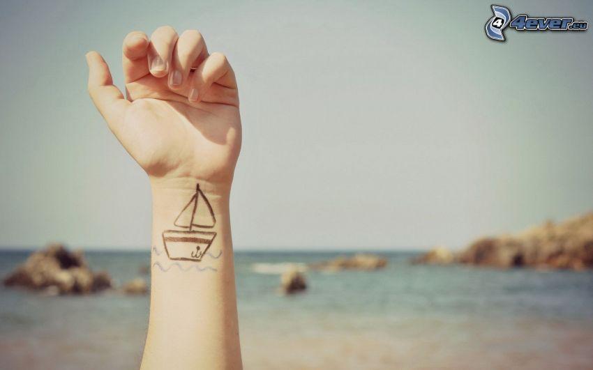 main, tatouage, ouvert mer