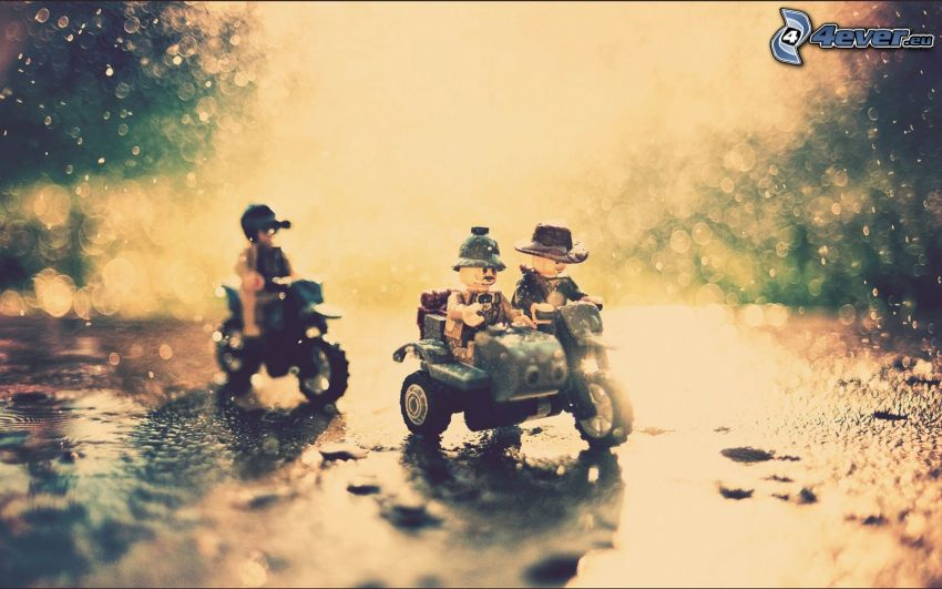 personnages, pluie, motos, Lego