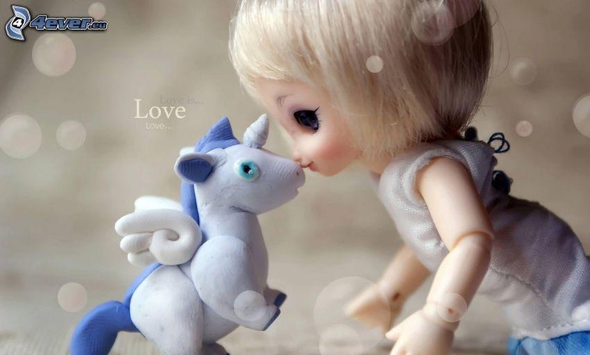 poupée, licorne, love