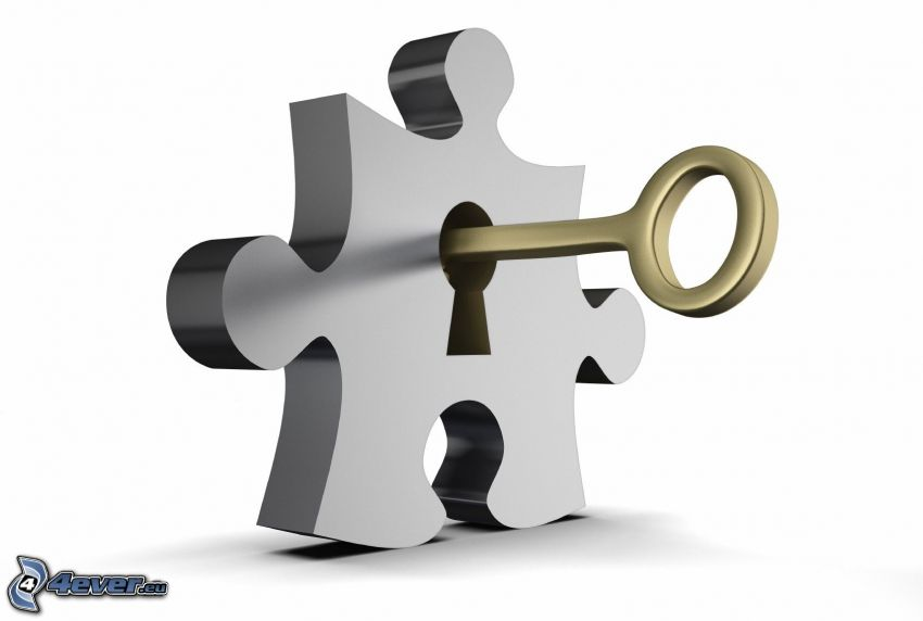 puzzle, clé, serrure