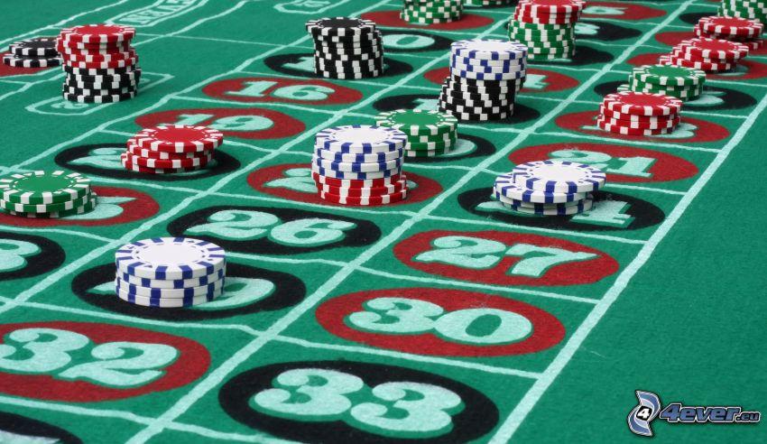 roulette, jetons de casino, numéros