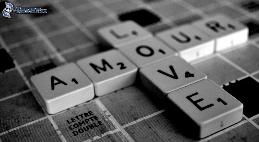 Scrabble, love, amour