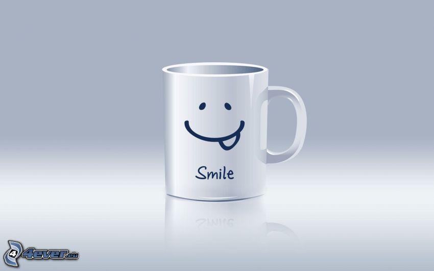 sourire, tasse