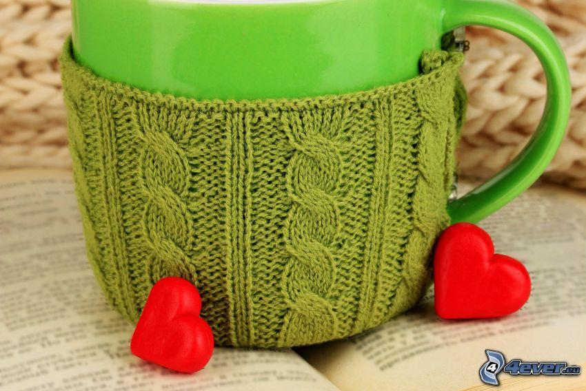 tasse, cœurs, laine, livre