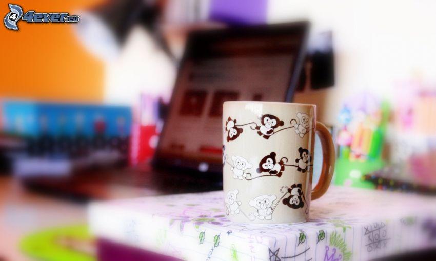 tasse, singes, table