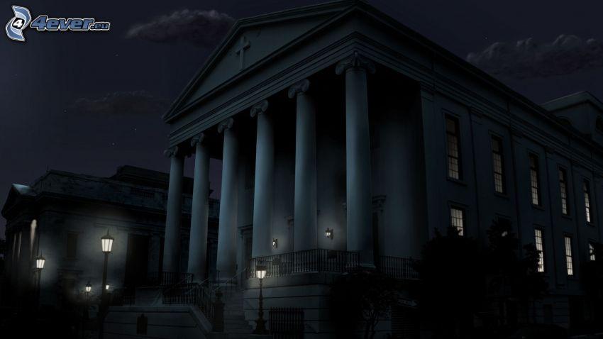 bâtiment, piliers, nuit
