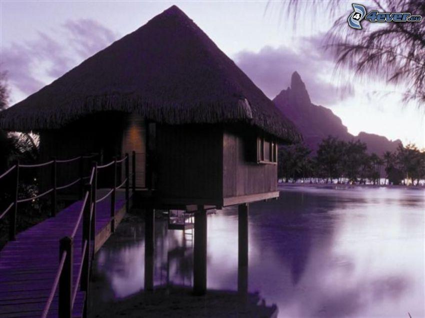 bungalows de bord de mer sur Bora Bora, mer, eau, montagne