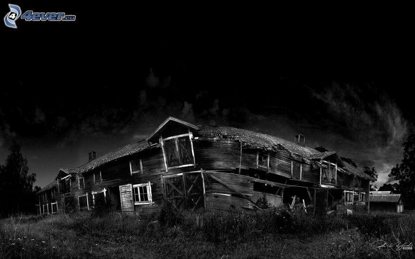 chalet, vieux bâtiment, nuit