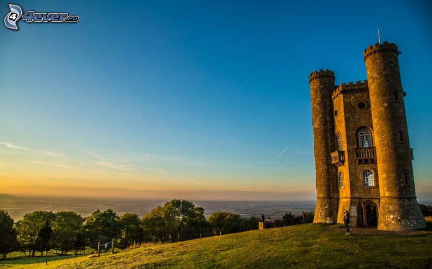 Broadway Tower, arbres, vue