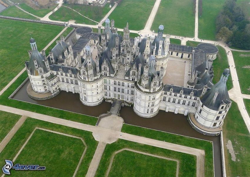 Château de Chambord, vue aérienne