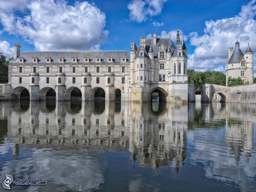 Château de Chenonceau, rivière, reflexion