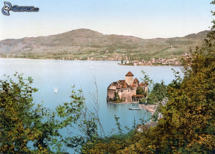 château de Chillon, rivière, montagne