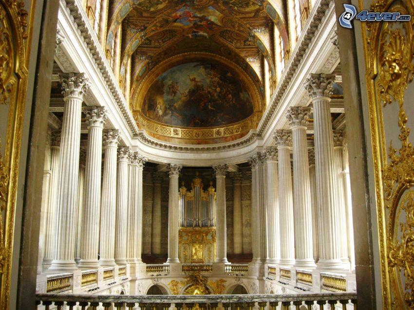 Château de Versailles, intérieur, couloir, piliers