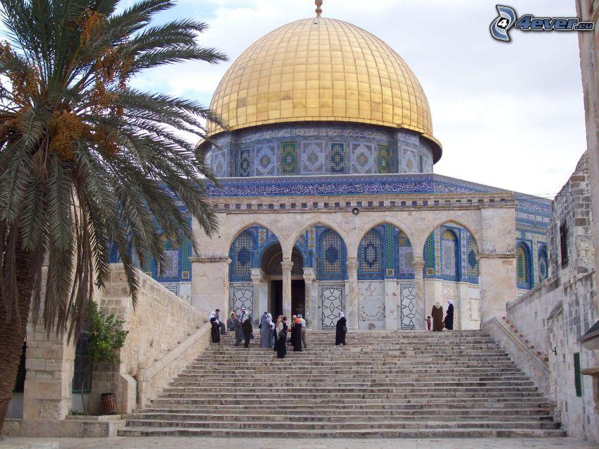Dome of the Rock, escaliers, palmier, Jérusalem