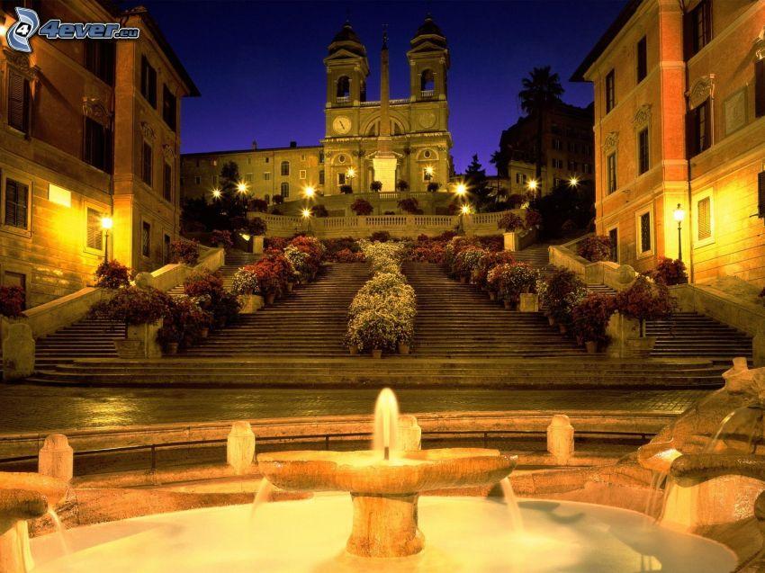 église, escaliers, fontaine, éclairage
