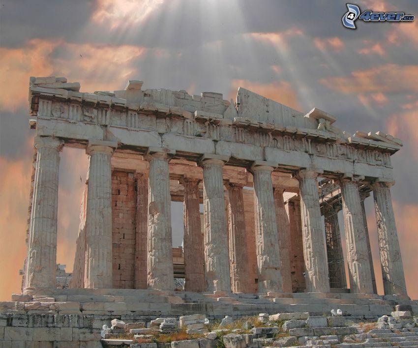 Parthénon, Athènes, rayons du soleil